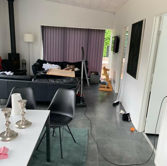 VASK: Huset var ikke ferdig vasket da Kracht og familien ankom til avtalt tid. Ifølge Kracht hadde også renholderne en kjempejobb foran seg. Foto: Privat