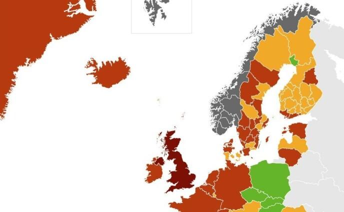 FORVIRRING: Det er dette kartet som skal gjøre folk forvirrret, men for fullvaksinerte er det unntak fra karantenereglene uansett. Foto: FHI