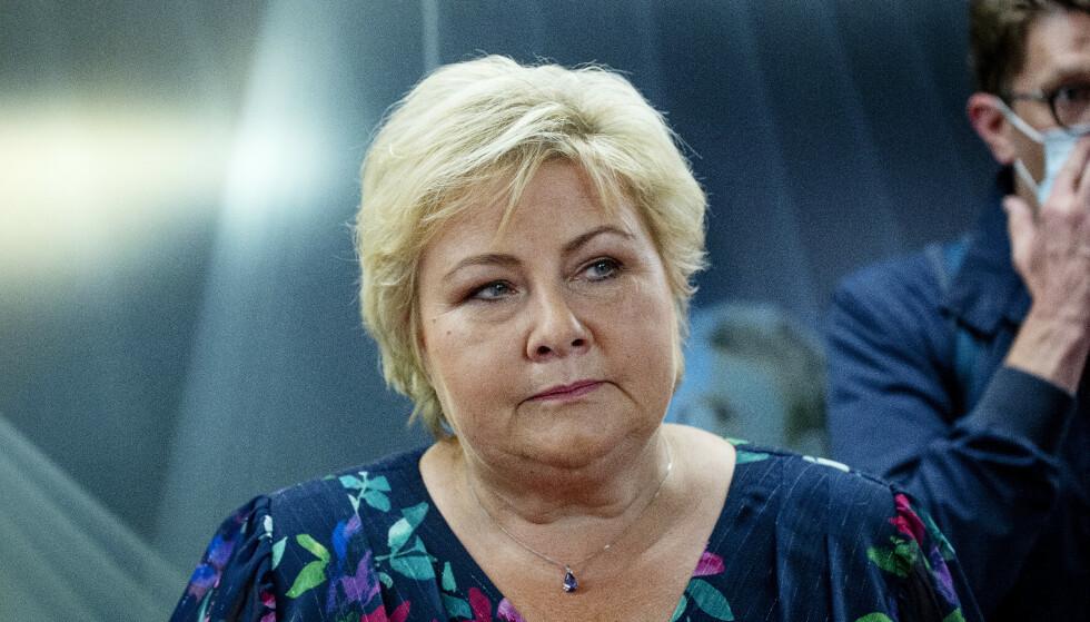 LØNN: Statsminister Erna Solberg (H) tjener 1,7 millioner kroner i året. Skattelistene for 2019 viste at den daværende Nav-sjefen tjente over 2,4 millioner, mens Statsbygg-sjefen stod oppført med inntekt på 2,2 millioner, ifølge Frifagbevegelse. Foto: Nina Hansen / Dagbladet