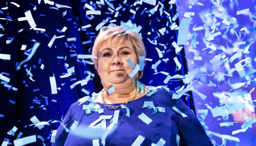 DRYSS: Valgnatta ble Erna Solberg overdrysset av confetti under Høyres valgvake. Lite annet blåste hennes vei gjennom valgkampen. Foto: Lars Eivind Bones / Dagbladet