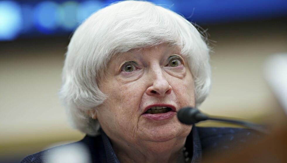 SLÅR ALARM: USAs finansminister Janet Yellen mener situasjonen nå er prekær. Foto: Al Drago / AFP / NTB